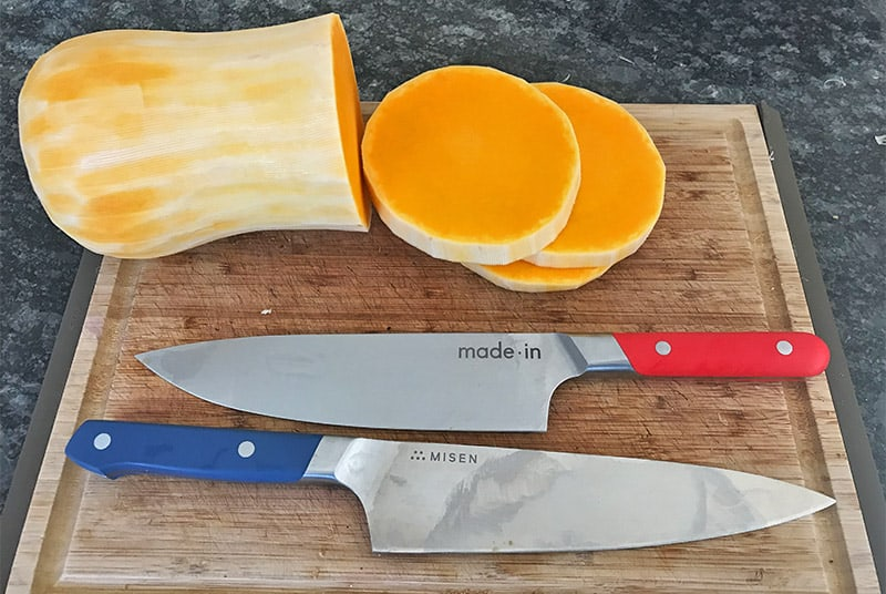 Made In and Misen knives cutting a butternut squash