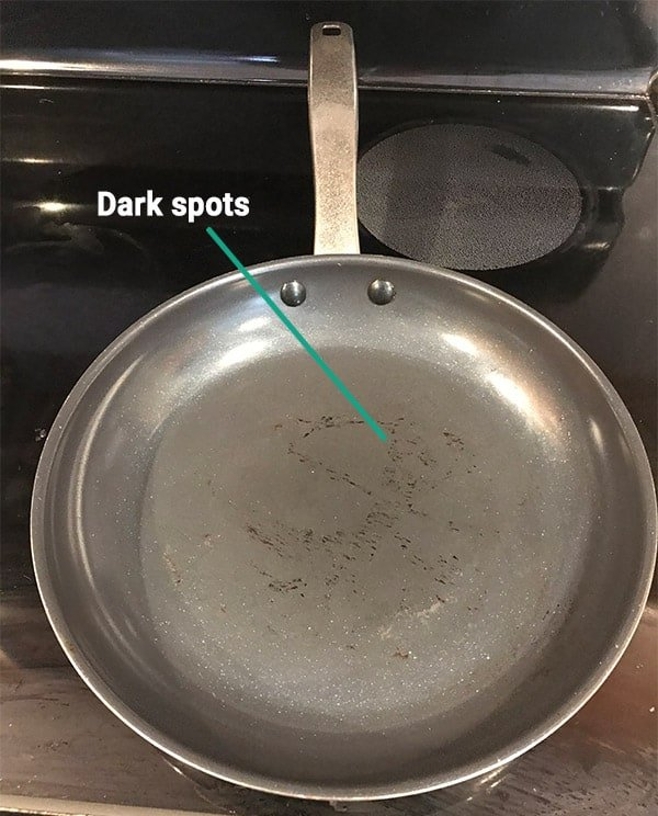 Dark spots on the cooking surface of the Blue Diamond Pan