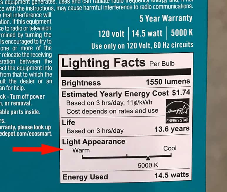 Daylight bulbs label