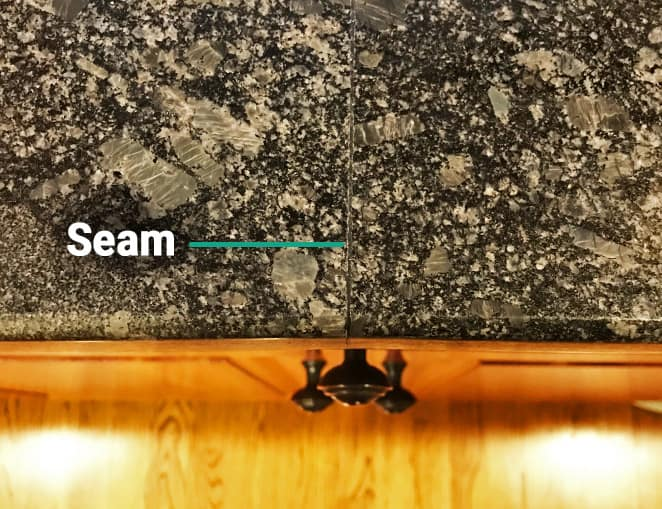 Seam where two slabs of granite connect