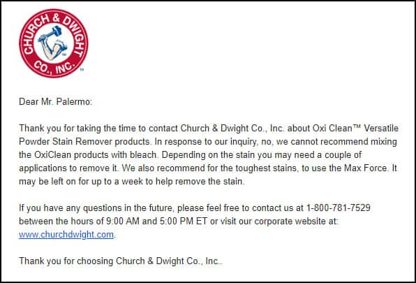 Statement from Church and Dwight customer service about mixing OxiClean and bleach