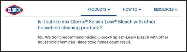 Statement on Clorox.com about mixing bleach with other cleaners