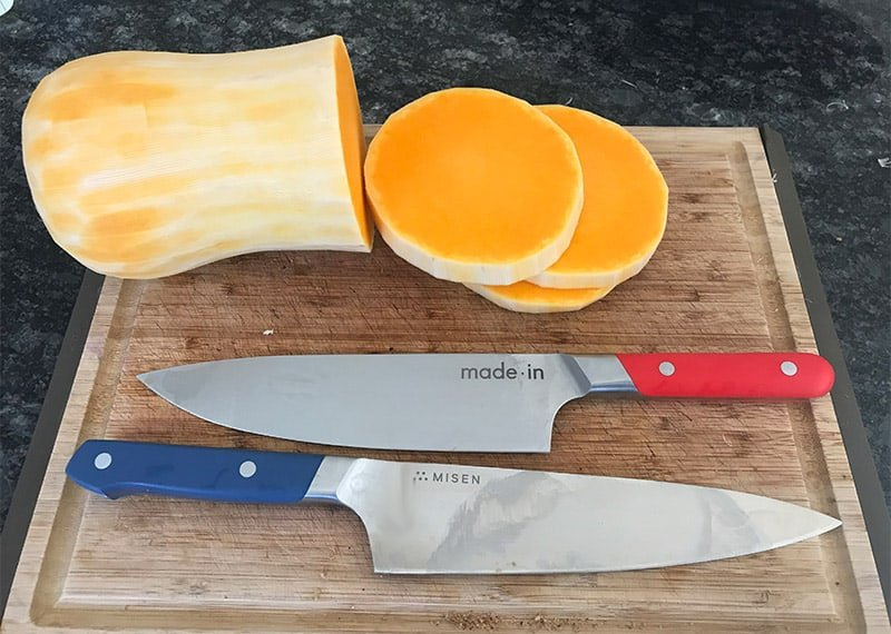 Misen Chefs Knife Cutting Squash