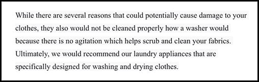 Whirlpool Customer Service response to can you put clothes in a dishwasher