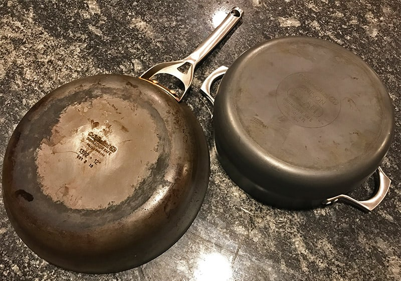 how to clean Calphalon hard-anodized cookware