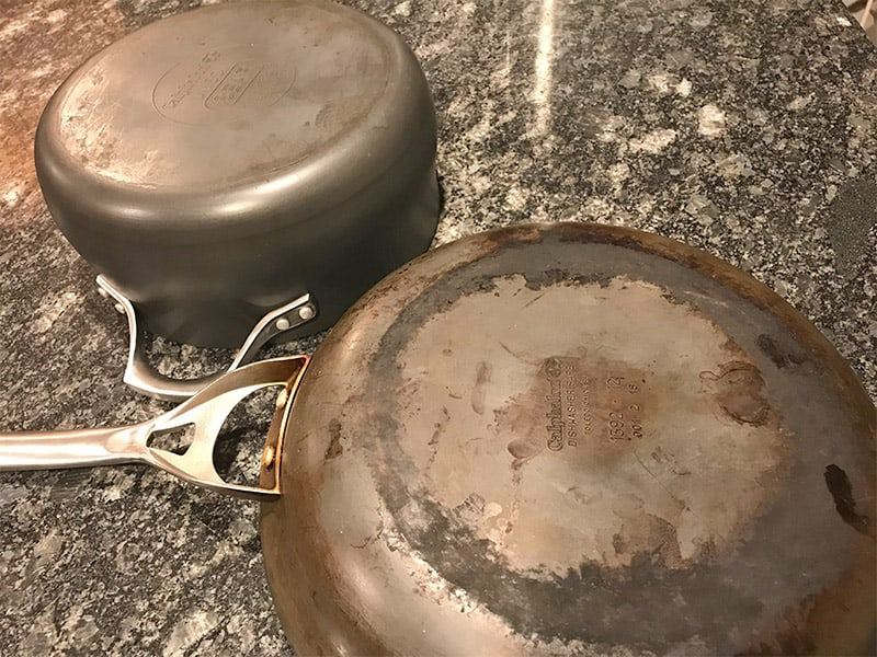 How to Clean the Bottom of Calphalon Hard Anodized Pans_before and after