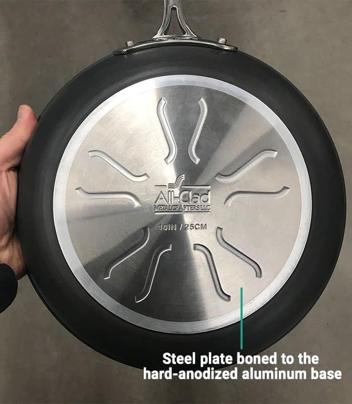 All-Clad Non-Stick Cookware with Steel Plate Bonded to the Base