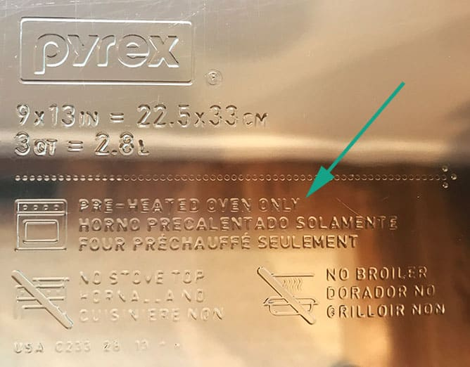 Pyrex preheated oven-safe label etched into the glass