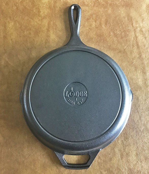 Bottom of the Lodge cast iron skillet