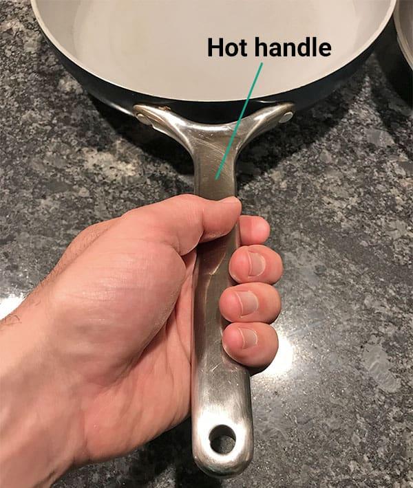 Caraway cookware handle gets hot