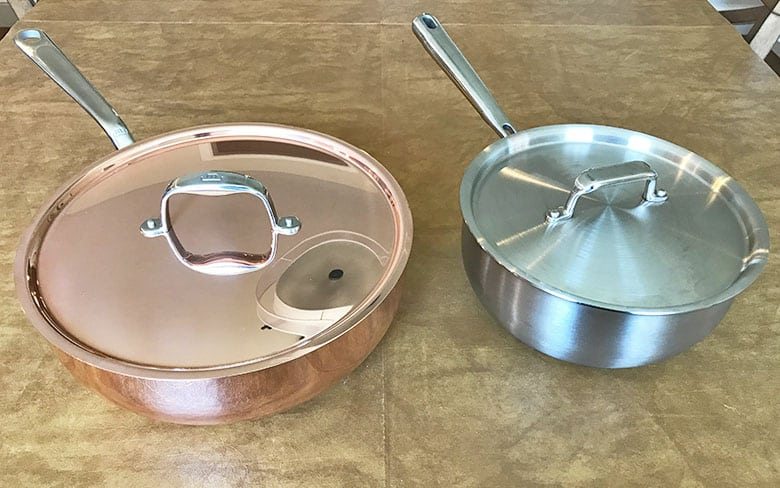 Copper and stainless steel sauciers