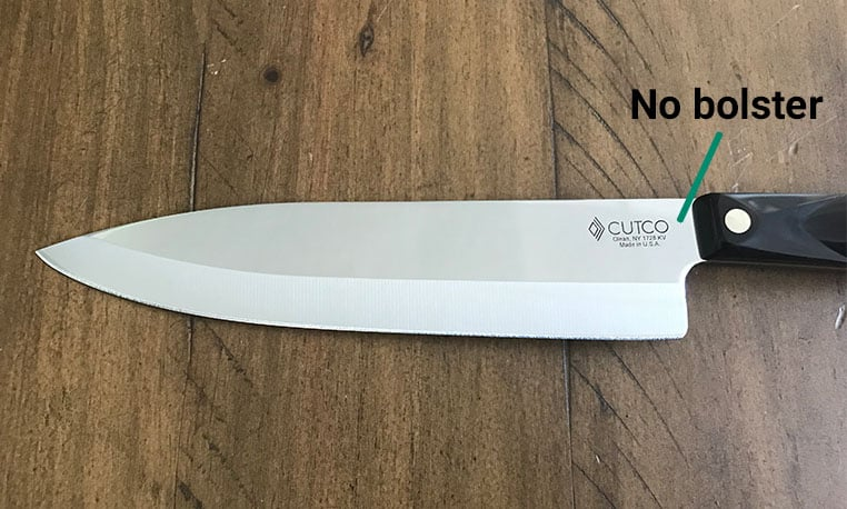 Cutco stamped blade with no bolster