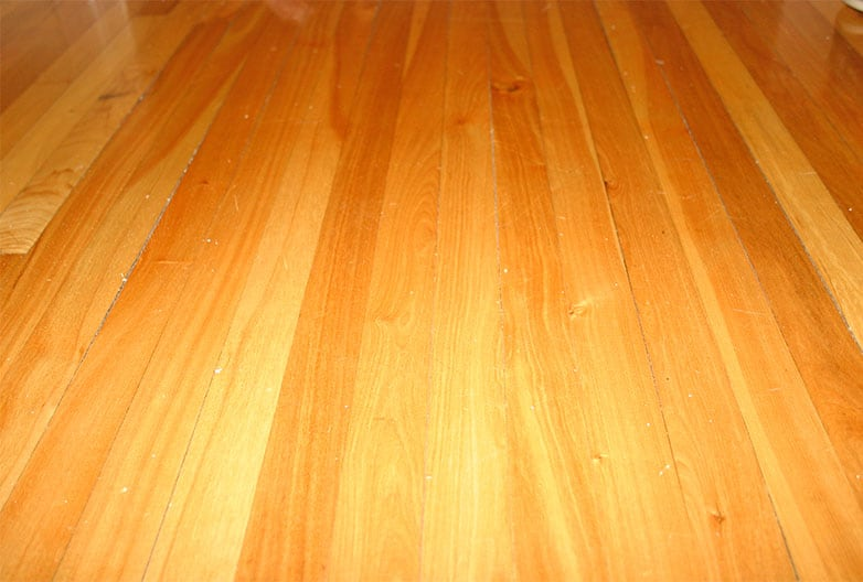 Dust and imperfections on wood floor with semi gloss polyurethane