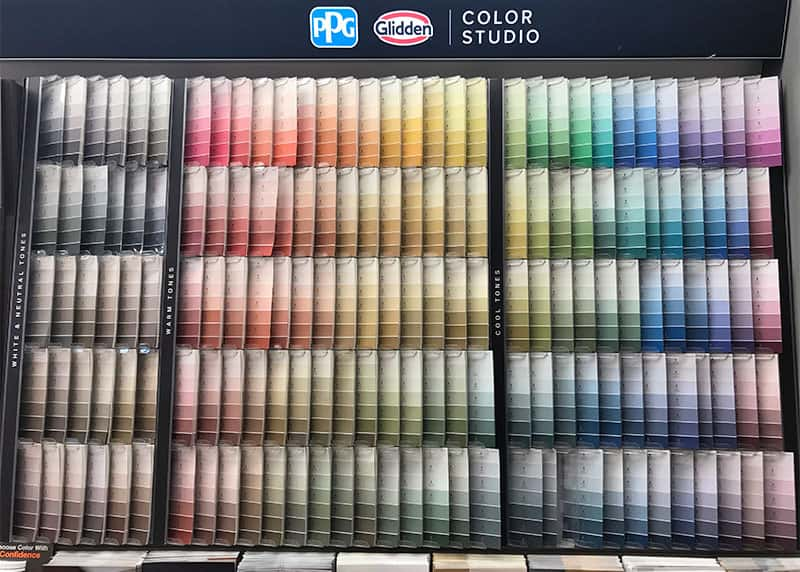 Glidden paint colors on display