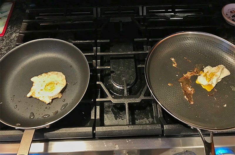 HexClad versus Misen cooking eggs