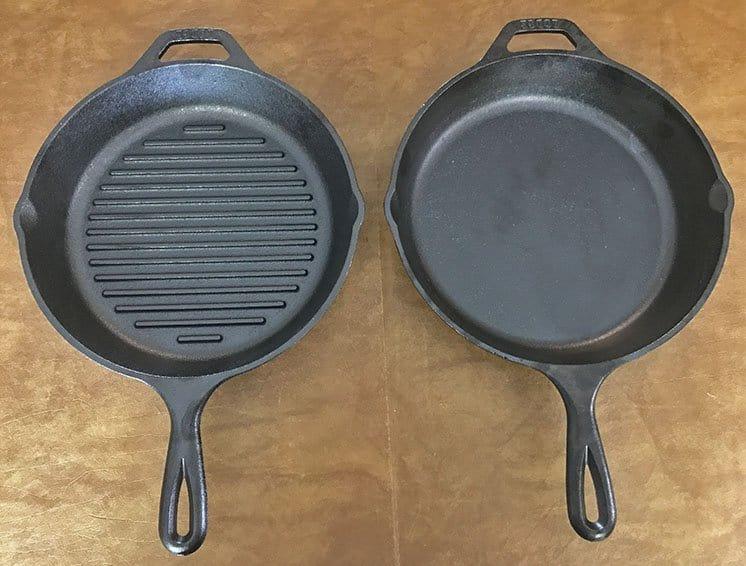 Lodge cast iron grill pan versus skillet