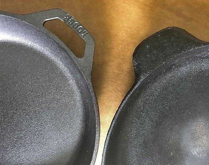 Lodge versus Calphalon cast iron skillet thickness