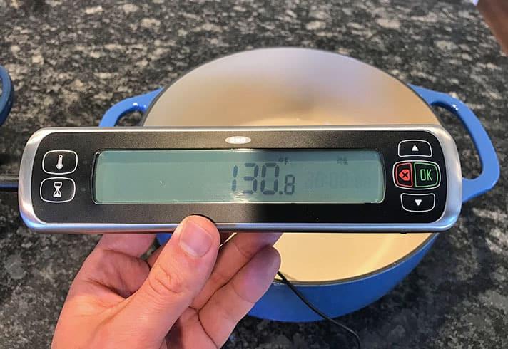 Lodge versus Le Creuset heat retention test results_Lodge after 10 minutes