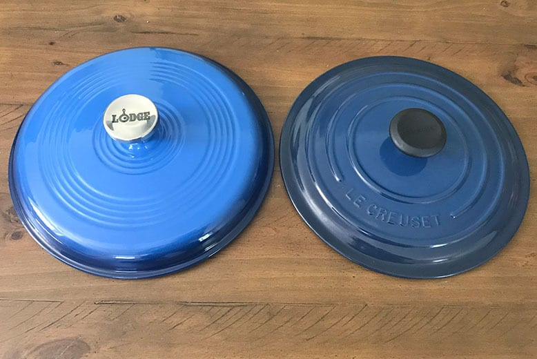 Lodge versus Le Creuset lid design