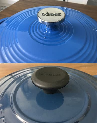 Lodge versus Le Creuset lid knobs