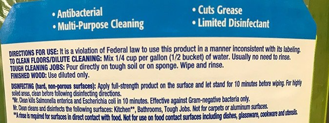 Mr. Clean Antibacterial Cleaner Instructions