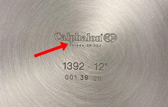 Ohio engraved into the bottom of a Calphalon pan