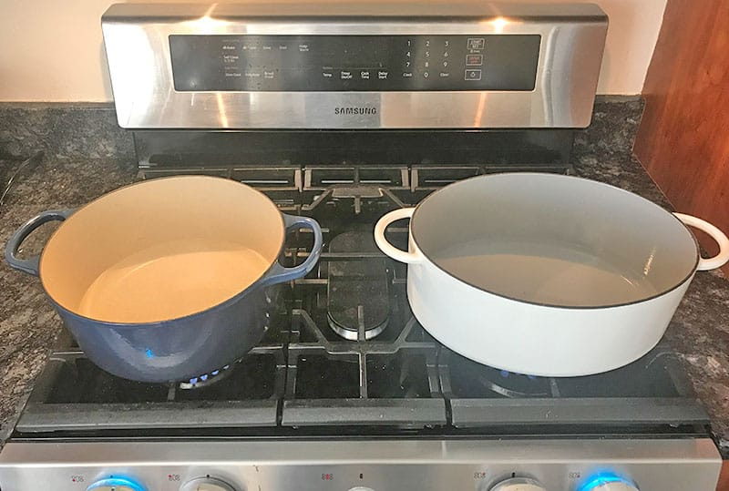 Oval versus Round Dutch Oven_stovetop performance