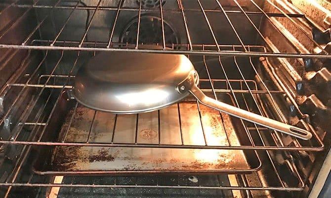 Seasoning the Misen carbon steel pan in the oven