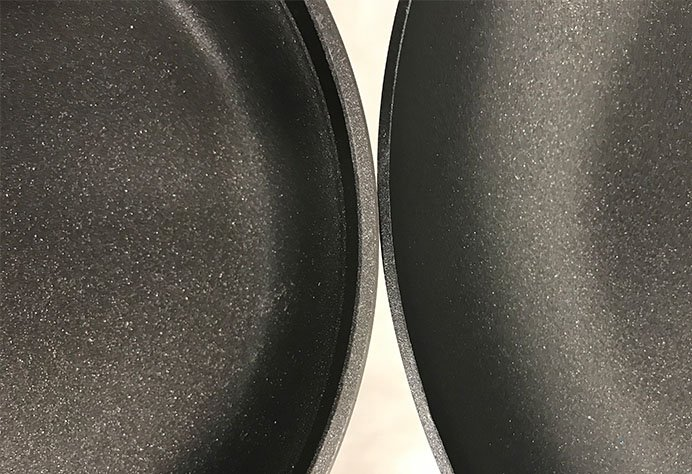 Thick walls of a Calphalon pan