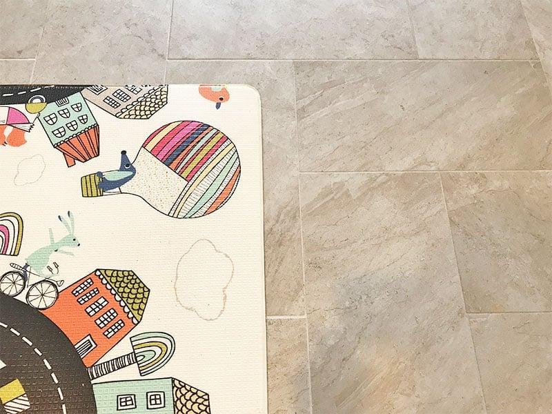 Using foam flooring to make tile floor less slippery