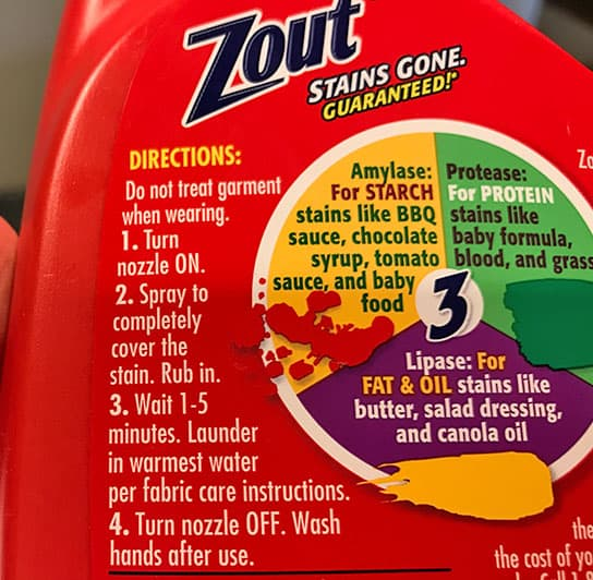 Zout stain remover spray instructions